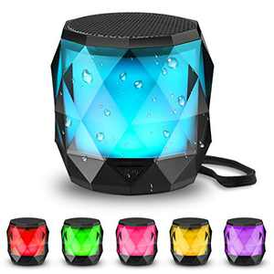 LFS Portable Bluetooth Speaker with Lights, Night Light LED Wireless Speaker,Magnetic Waterproof Speaker, 7 Color LED Auto-Changing,TWS Stereo Pairing,Perfect Mini Speaker for Shower, Home, Outdoor