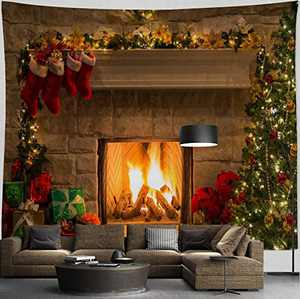 """HIYOO Home Christmas Fireplace Tapestry Wall Hanging, Merry Xmas Happy New Year Winter Wall Tapestry Art Fabric Decorations, Decor for Dorm Room, Bedroom, Living Room, Party Background 90""""W x 71""""L"""