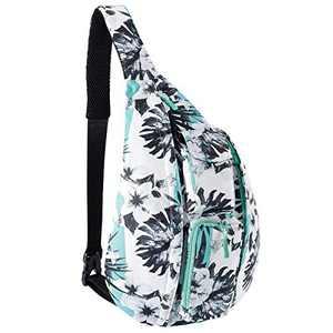 Unisex Sling Bag Crossbody Sling Backpack Mutilpurpose Travel Shoulder Daypack with Adjustable Strap for Women Men Students Boys Girls (Green Flower)