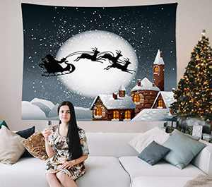 """HIYOO Home Christmas Theme Wall Hanging Fabric Art Tapestry, Xmas New Year Winter Indoors Decorations, Decor for Dorm Room, Bedroom, Living Room, Party Background - Snow Night Town 60""""W x 51""""L"""