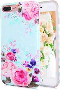 TRENSOM iPhone 8 Plus Case iPhone 7 Plus Case for Women Matt Protective Case with Design, Cute Slim Bumper Case, Pink Roses Floral Pattern IMD, Flexible Shockproof Phone Cases Blue Purple Flowers