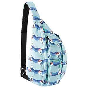 Unisex Sling Bag Crossbody Sling Backpack Mutilpurpose Shoulder Daypack with Adjustable Strap for Women Men Students Boys Girls (Blue Saiboat)