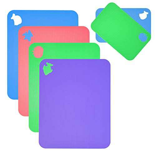 Flexible Cutting Board for Kitchen 14.96X12 Thick 0.7mm Set of 6 Flexible Cutting Board Mats With Food Icons Assorted Colors Plastic-Cutting-Board-for-Kitchen SUPERKIT