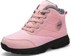 BomKinta Women's Snow Boots Keep Warm Surface Anti-Slip Soft Sole Warm Fur Lined Winter Ankle Booties Pink Size 11