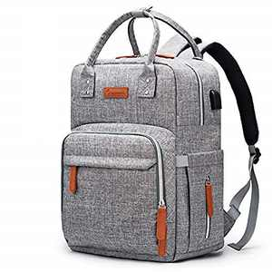 Diaper Bag Backpack Upsimples Multi-Function Maternity Nappy Bags for Mom&Dad, Baby Bag with Laptop Pocket,USB Charging Port,Stroller Straps,Light Grey