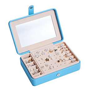 Naswei Small Travel Jewelry Box with Mirror, Portable Faux Leather Jewelry Organizer Display Storage Case for Necklaces Earrings Rings Lipstick Makeup and Accessories Organizer Box-Light Blue