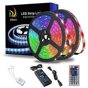DDeLi LED Strip Lights Waterproof 32.8ft 5050 RGB LED Rope Lights LED Tape Lights Flexible Mutil Color Changing with 44 Key IR Remote Ideal for Home Kitchen Christmas TV Back Lights DC 12V 5A