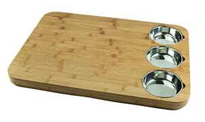 Versachop Trio, Extra Large 22 X 16 inch Cutting Boards for Kitchen, Butcher Block - Totally Natural Organic Moso Bamboo board with three Stainless Steel Bowls attached for easy chopping