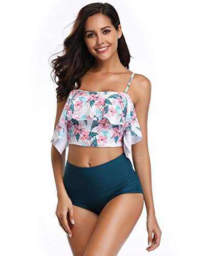MARINAVIDA Women Off Shoulder Ruffle Swimsuit Crop Top Two Piece Bathing Suit(Slim Version)