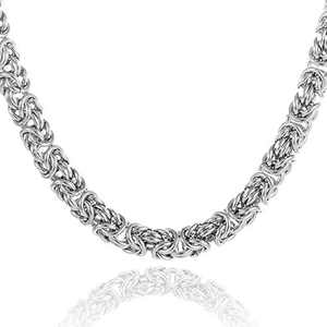 Granny Chic Men Stainless Steel Silver Color Byzantine Bracelet Necklace Chain Link Length 7-40 inches,Width 6mm 8mm 10mm(36 inches, 8mm)