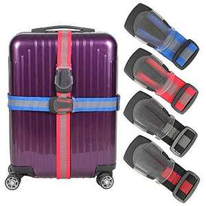 Vigorport Luggage Straps Suitcase Belt TSA Approved with Adjustable Quick-Release Buckle,Nonslip Travel Straps for Luggage, 4-Pack (Multicolor)