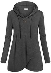 Ouncuty Hoodies for Women Plus Size,Baggy Retro Lovely V Neckline Full Length Sleeve Pure Color Slouchy Boutique Layer Draped Loose Fitted Hooded Hoodie T-Shirt Charcoal Grey X-large