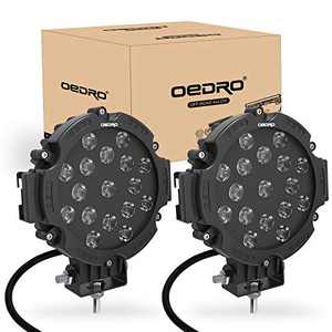 oEdRo 7 Inches 51W 5100LM LED Light Pods, Round Spot Light Pod Off Road Driving Lights Fog Bumper Roof Light Fit for Boat, Jeep, SUV, Truck, Hunters, Motorcycle