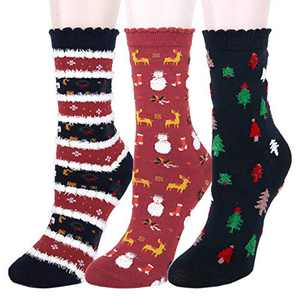 Womens Girls Funny Christmas Socks Cute Cotton Soft Colorful Cartoon Novelty Crew Socks Gift 5 Pairs Tree