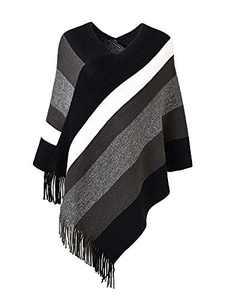 Deerludie & T Women's Elegant Knit Sweater Tassel Poncho Stripe Cape Shawl with Fringe Black