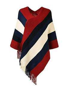 Women's Elegant Knit Sweater Tassel Poncho Top Stripe Fringe Cape Shawl Red