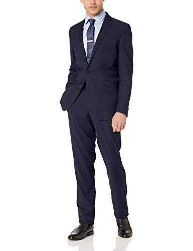 Kenneth Cole REACTION Men's Stretch Slim Fit Suit, Navy Shadow Check, 44 Regular