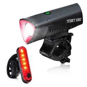 YOSKY Bike Light Set USB Rechargeable,Waterproof LED Front Headlight and Rear Taillight,Ultra Bright Waterproof Led Bike Lights Bicycle Front and Back Light