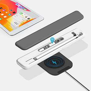 Leakind Apple Pencil Wireless Charging Case, Apple Pencil Case and Stand for Apple/iPad Pencil 1st Generation, Apple Pencil Charger Adapter(Gray)