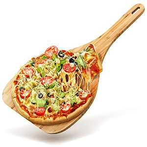 Wood Pizza Peel 12 Inch Pizza Peel. Euro-Design Bamboo Pizza Peel Wood and Pizza Board with Handle is Ideal for Serving. New Wooden Pizza Peel Larger 2021 Pizza Paddle Wood is a Pizza Spatula Paddle.