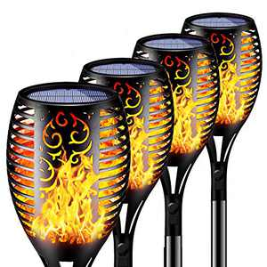 Solar Flame Lights Outdoor Waterproof,LED Solar Torch Lights with Dancing Flickering Flames,Flashlight Safety Light for Garden Decoration Automatic On/Off Dusk to Dawn-4 Pack