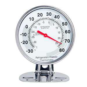 Classic Design Stainless Steel Large Dial Fridge Thermometer Freezer Thermometer with Both Fahrenheit & Celsius Degree