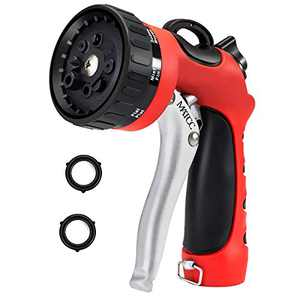 MATCC Garden Hose Nozzle Sprayer Heavy Duty Metal Hose Nozzles 8 Way Pattern Water Hose Spray Nozzle High Pressure for Watering Plants Cleaning Car Wash and Pets Bathing