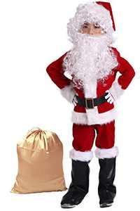 Takuvan Complete Christmas Boy's 10PCS Santa Suit Children Halloween Costume L