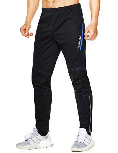 MUCUBAL Men's Windproof Bike Pants Thermal Outdoor Sweatpants(Blue,XXL)