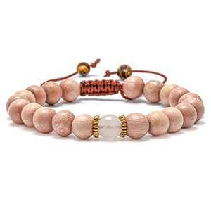 M MOOHAM Wooden Bead Bracelets, 6mm Adjustable Beads Bracelet Men Women Stress Relief Yoga Beads Adjustable Semi-Precious Agate Stone Bracelet Bangle