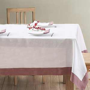 Simple&Opulence 100% Linen Tablecloth - (Pack of 1) - Premium Rectangle (Coloured Border) Reusable Washable Durable Daily Use for Dinner/Party/Picnic/Wedding - White+Purple, 60 x 104 inch