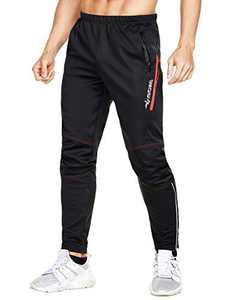 MUCUBAL Men's Windproof Bike Pants Thermal Outdoor Sweatpants(Red,XL)