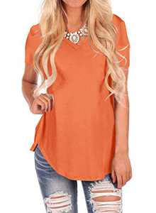 WFTBDREAM Womens Loose V Neck T Shirts for Work Summer Tunic Solid Orange M