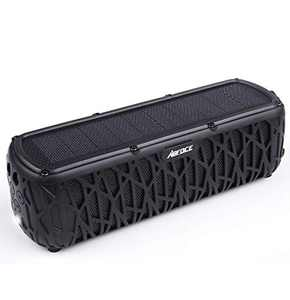 ABFOCE Solar Bluetooth Speaker Portable Outdoor Bluetooth IPX6 Waterproof Speaker with 5000mAh Power Bank,60 Hours Play Time Dual Speaker with Mic, Stereo Sound with Bass Home Wireless Speaker-Black