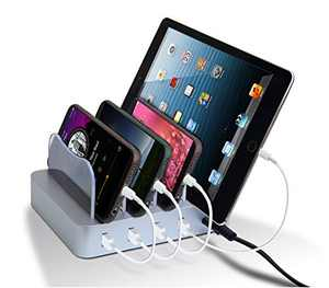 USB Charging Station - Charging Dock - 4-Port - Fast Charging Station - iPad Docking Station - Smart Charging Station Dock - Multi Charging Station for Cell Phones and Tablets