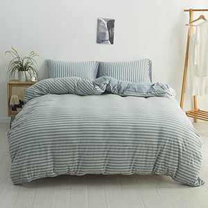 DONEUS Jersey Knit Duvet Cover Twin Size, 3 Pieces (1 Duvet Cover, 2 Pillowcases) Ultra Soft Stripes Pattern Duvet Cover Set, Easy Care Bedding Set with Zipper Closure, Corner Ties(Blue&Grey Stripes)