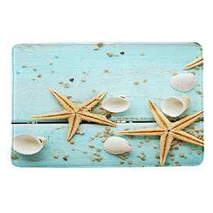 "HIYOO Starfish Seashell Theme Design Non Slip Bathmat, Doormat, Bathroom Bath Floor Kitchen Area Door Entrance Rugs Mat, Super Soft Flannel Fabric with Inner Thick Sponge 16"" W x 24"" L"