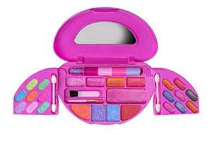 Playkidz: My First Princess Makeup Chest, Girl's All-in-One Travel Cosmetic and Real Makeup Palette with Mirror (Washabl