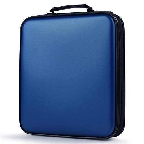 COOFIT CD Case, 160 Capacity DVD Storage DVD Case VCD Wallets Storage Organizer Flexible Plastic Protective DVD Storage Blue