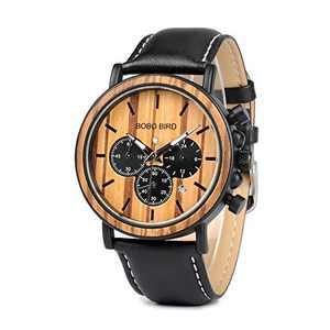 Mens Watch Wooden Multifunction Leather Band Night Luminous Silver Needle Large Size Luxury Stylish Wristwatch for Boy