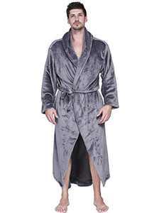 Aibrou Mens Robes Big and Tall Plush Long Hood Fleece Bathrobe-Plush Robe for Men