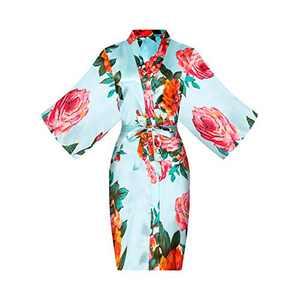 ALHAVONE Women's Rose Flowers Silky Satin Short Kimono Robe for Wedding Getting Ready (Light Blue, Tag LXL)