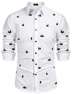 COOFANDY Men's Tree Embroidered Cotton Long Sleeve Casual Button Down Shirts (White XXL)