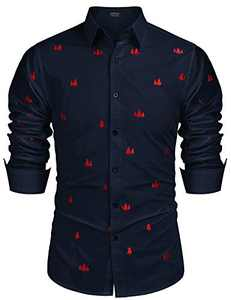 COOFANDY Men's Stylish Long Sleeve Button Down Embroidered Shirt (Navy Blue XL)