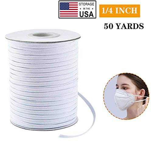 """Elastic Bands, Premium Elastic Cord Spool Elastic String Headband Elastic for Masks, Knit Roll Perfect for DIY Sewing and Crafting (50 Yards × 1/4"""")"""