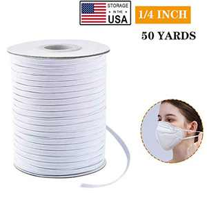 "Elastic Bands, Premium Elastic Cord Spool Elastic String Headband Elastic for Masks, Knit Roll Perfect for DIY Sewing and Crafting (50 Yards × 1/4"")"