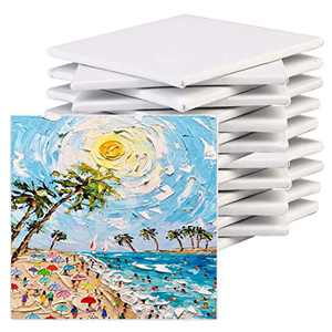 JUSTDOLIFE Painting Canvas Panel Boards:12 pack 8 x 8 canvas boards for painting Blank Canvas Primed White Canvas Board Artist Canvas Board for Acrylics Oil Painting Painters Students Kids