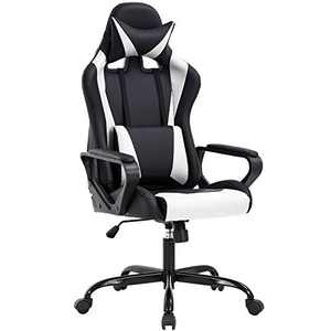 High Back Gaming Chair PC Office Chair Racing Computer Chair Task PU Desk Chair Ergonomic Swivel Rolling Chair with Lumbar Support Headrest for Back Pain Women Adults Gamer (White)
