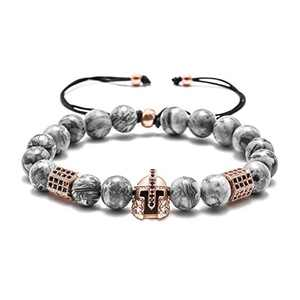 M MOOHAM Natural Stone Bead Bracelets - 8mm Natural Maps Stone Picasso Stone Beads Bracelet, Men Women Stress Relief Yoga Beads Elastic Semi-Precious Stone Bracelet Knight Head Charm Bangle
