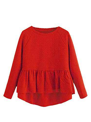 SheIn Women's Loose Round Neck Raglan Long Sleeve Ruffle High Low Hem Smock Top Small #Red